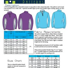 PDF sewing pattern for quarter zip fleece pullover with optional contrast panels, pockets, and breastfeeding access.