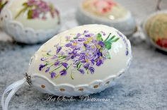 Pysanka real egg painted by hand Lilies Of The Valley - Easter egg with handmade Polish
