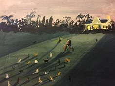 Kirsten Sims' characters weave busy narratives in colourful landscapes.