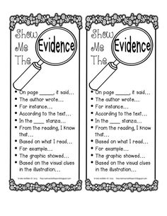 Show Me the Evidence free printable. Useful sentence starters for citing text evidence in student writing. Reading Strategies, Reading Skills, Reading Comprehension, Comprehension Strategies, Reading Practice, Reading Groups, Reading Passages, Reading Activities, Third Grade Reading