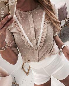 Shop Lace Trim Frill Hem Casual Blouse right now, get great deals at chiquedoll Shirt Blouses, Shirts, Mode Hijab, Ladies Dress Design, Blouse Designs, Blouse Patterns, Blouses For Women, Plus Size Fashion, Fashion Dresses