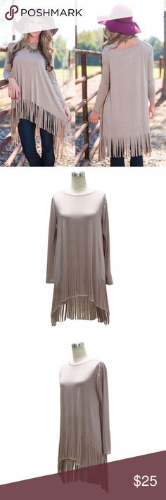 SALE! Long Sleeve Boho Fringe T-Shirt Dress/Tunic Beautiful Natural color. Long Sleeve. Loose. Fringe at the bottom. High low. Cotton and very soft. Great top for Fall!  Tops Tunics