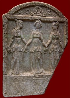 Marble Votive Relief with Nymphs. Hellenistic Greek, third century BCE