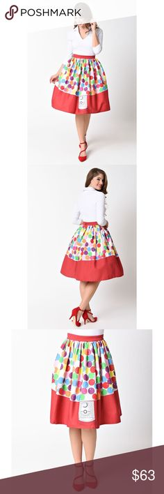 Rainbow Gumball Candy Colorful Swing Skirt Brand new with tags. Not taking offers. No trades please. Listed as Modcloth for exposure only. Skirts