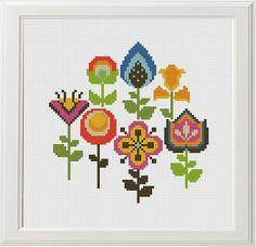 Flower Cross Stitch Pattern Floral Cross Stitch Modern