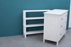 Shelf for Hemnes changing table, to be used from both sides! Shelf for Hemnes changing table, to be used from both sides! Baby Room Decor, Bedroom Decor, Changing Table Dresser, Changing Tables, Nursery Bookshelf, Table Shelves, Toddler Rooms, Kid Beds, Girl Room