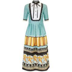 Temperley London Foxglove Printed Shirt Dress (€985) ❤ liked on Polyvore featuring dresses, blue, midi, calf length dresses, tassle dress, mid calf dresses, flower shirt dress and tall dresses