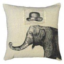 Hat and Elephant Throw Pillow