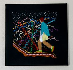 """KINETIC VAGABOND - embroidery floss on canvas 12""""x12"""" by Mary Balda."""