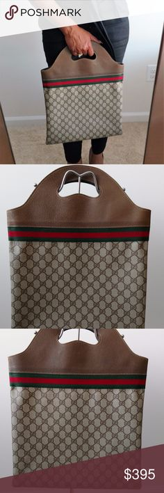 Sherry Stripe Authentic Gucci Tote Shopper Handbag This beautiful Vintage Sherry Stripe Gucci Tote Shopper Handbag is Authentic.  It is in great almost excellent condition. This bag from the 1970s/1980s was hardly worn. The bag does show signs of wear such as a little wrinkling on the handles and rubbing on the bottom of the bag (see photos).  The inside is clean but may have storage odor. Gucci Bags Totes