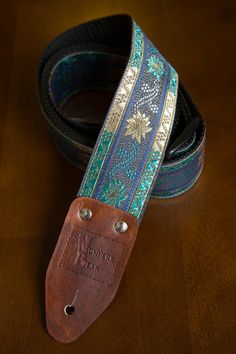Blue/Silver Vintagestyled Guitar Strap by nowherebearstraps, $45.00