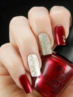 100 trendy stunning manicure ideas for short acrylic nails – Page 82 of 101 Red And Gold Nails, Golden Nails, Red Nails, Fall Nails, Red Gold, Golden Nail Art, Love Nails, Pretty Nails, Valentine's Day Nail Designs