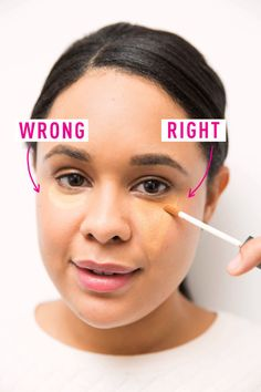 Draw a triangle shape under your eyes to brighten the entire eye area. To see a full article on this technique, click here.