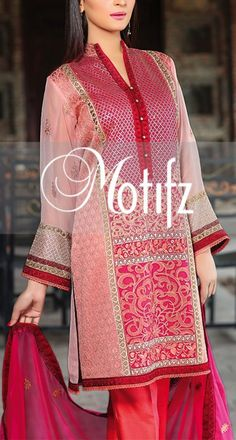 Buy Pink Embroidered Chiffon Dress by Motifz Chiffon Collection 2015.