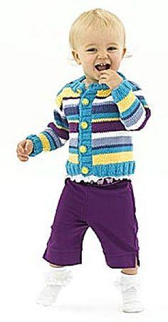 Free Knitting Pattern 50267AD Knit Lucky Stripes Cardigan : Lion Brand Yarn Company
