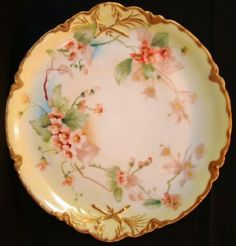 "Gorgeous 13"" Limoges Porcelain Charger / Platter ~ Hand Painted with Wild Pink Roses ~ Ranson Pattern ~ Haviland France 1893-1930"