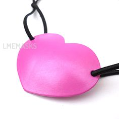 Leather Eye Patch Heart Bubblegum Pink Pirate Fuschia by LMEmasks