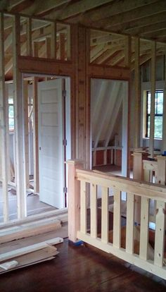 Framing of the two bedrooms, as seen from the sleeping loft of the cottage.