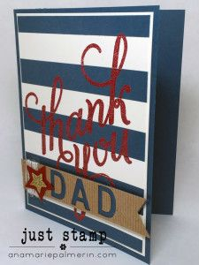 Stampin' Up! Another Thank You for Father's Day   Just Stamp   Hand Made Thank You Card   Dapper Denim Debut