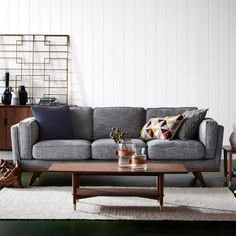 Shop the DAHLIA 3 Seat Fabric Sofa in Austria Shell. This is part of freedom's range of contemporary furniture & comes with a 10 year frame warranty. Dining Table In Living Room, Living Room Grey, Living Room Sofa, Living Room Decor, Living Spaces, Walnut Furniture, Furniture Sale, Living Furniture, Sofa Furniture