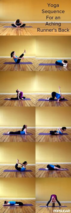 Yoga Sequence For an Aching Runners Back - If you run, its not unusual to experience back pain at some point. This pain can be caused by tense upper back muscles and shoulders, weak abs, tight hamstrings and hips, or a combination. Youll be amazed at how a regular stretching routine can help! Sleep better and tie your shoe with ease by going through this 11-pose yoga sequence after every run.