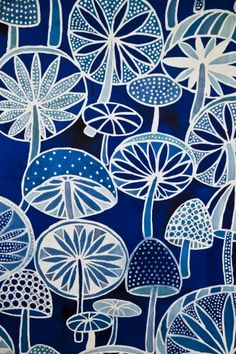 Blue Mushrooms Batik Fabric