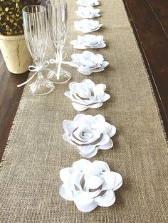 Burlap table runner 108X12 with white flowers by HotCocoaDesign, $29.00