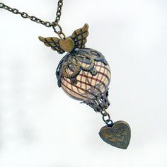 Flying Heart  Hot Air Balloon Necklace Jewelry by TrashAndTrinkets