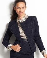 """Tall Moto Tweed Jacket - Rev up your look with this motorcycle-inspired jacket, boasting a finely tuned mix of flecked tweed, faux leather trim and zipped-up details. Kick it into high gear with a sophisticated print top and bold statement jewelry. Asymmetrical zip front. Long sleeves. Front besom pockets. Lined. 21"""" long."""