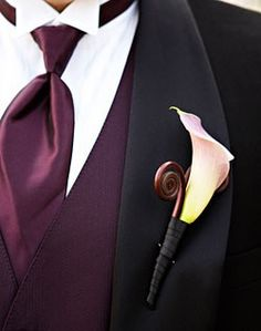 White Boutonniere with contrasting vest/tie purple-wedding