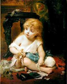 Pierre Olivier Joseph Coomans (1816-1889), Belgian Girl and Doll, 1882