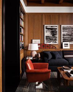 〚 Gorgeous bachelor apartment on Bank Street in New York 〛 ◾ Photos ◾Ideas◾ Design Masculine Interior, Classic Interior, Home Interior, Interior Decorating, Mad Men Interior Design, Interior Colors, Architecture Restaurant, Interior Architecture, Living Room Designs
