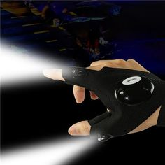 LED Half-finger Glove Outdoor Lighting Portable Convenient For Night Running Riding Hunting Camping - Black Right Hand Hunting Gloves, Fishing Gloves, Hand Gloves, High Tech Gadgets, Fish Camp, Outdoor Survival, Led Flashlight, Home Repair, Betta