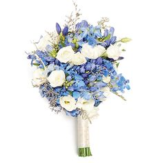Oh-so blue bouquet of gentias, hydrangeas and delphiniums by The Little Glass Slipper