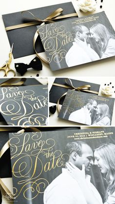 Gold Foil Save the Date Cards with black and white photo