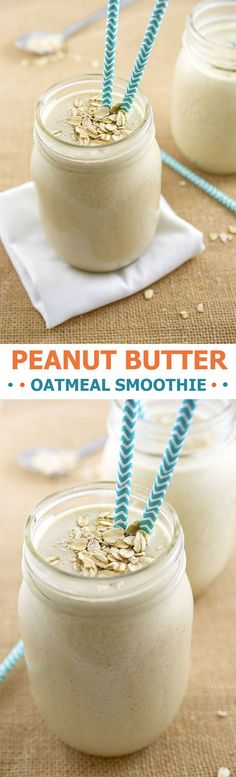 Thick and creamy Peanut Butter Oatmeal Smoothie loaded with creamy peanut butter, old fashioned oats, bananas and vanilla soy milk.   chefsavvy.com #recipe #breakfast #oatmeal