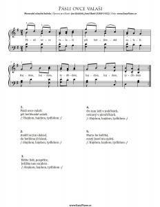 Pásli ovce valaši (Shepherds grazed Sheep) | Piano Sheet Music Easy Piano Sheet Music, Christmas Carol, Sheep, Math, Christmas Music, Math Resources, Mathematics
