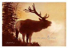 Elk Bugle Watercolor print by MYFIREFROST on Etsy