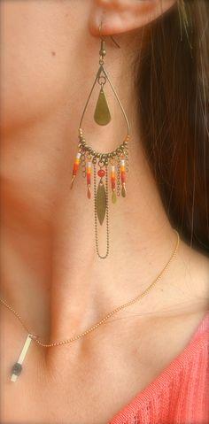 Boucles d'oreille goutte bronze, perle miyuki rouge, orange et blanc -Bijoux ENORA-