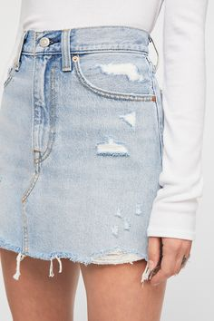 Levi's Deconstructed Denim Skirt | Free People