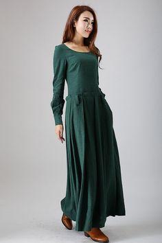 Green maxi dress long sleeve linen dress 788 by xiaolizi on Etsy, $89.00 Someday... when I'm done breastfeeding... :)