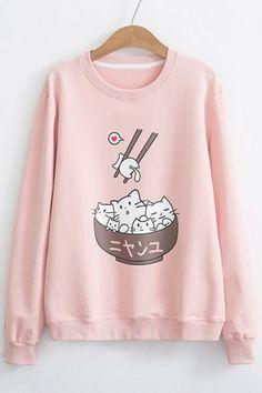 Funny Cartoon Bowl Chopsticks Print Long Sleeve Pullover SweatshirtYou can find Kawaii fashion and more on our website. Harajuku Fashion, Kawaii Fashion, Cute Fashion, Komplette Outfits, Cool Outfits, Fashion Outfits, Winter Outfits, Fashion Advice, Kawaii Mode