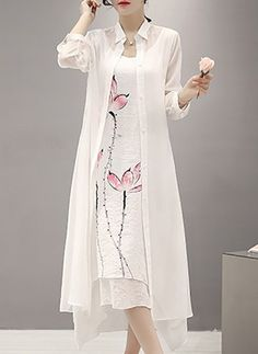 Lin Neutre Manches longues Maxi Décontracté Robes (1037620)