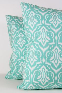 18x18 Pillow Cover Ikat Damask Pattern in Mint