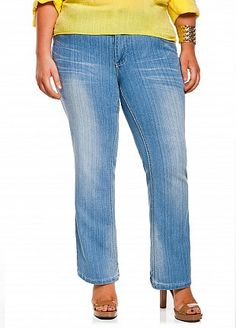 Ashley Stewart: Whiskered Skinny Boot Cut Denim