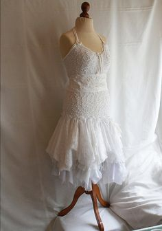 Fairy Wedding Dress Upcycled Clothing Tattered Romantic by cutrag, $302.02