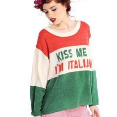 Wildfox Kiss Me I'm Italian Sweater M $146Boutique