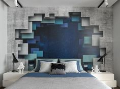 """Hálószoba inspiráció - """"lebegő"""" ágy és különleges, nagyméretű mintás tapéta 3D hatással"""