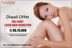 Diwali Special Offer - Full Body Laser Hair Removal in Just Rs.79,999 at DermaClinix, Delhi/NCR.   Completely Painless - We use FDA approved latest technology Soprano ice & Alexandrite diode to give you the best hair removal treatments. Doctors are qualif #Painlesspermanenthairremoval