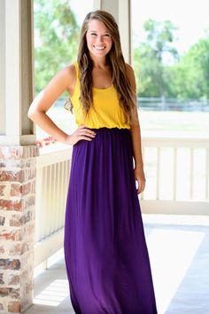Purple and Gold Tank Maxi Gameday Dress | Hazel & Olive